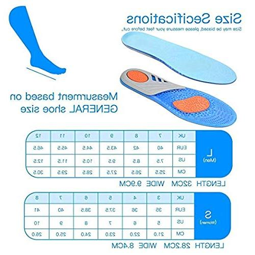 Comfort Gel Orthotic for & Women, Plantar Inserts Arch Support Relieve Feet, High Foot Pain,Supination