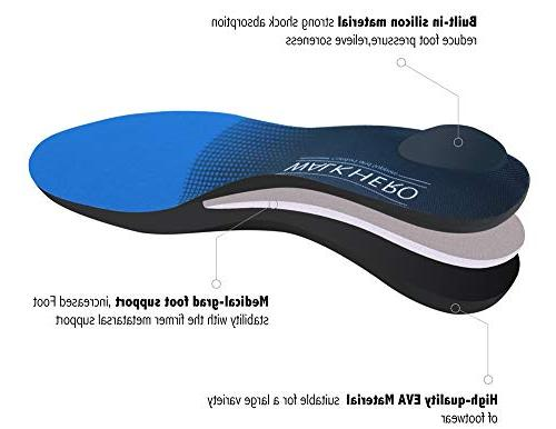 Orthotic Shoe Men Performance Shoe Insoles Fasciitis Arch Foot Arch Flat Feet Ball of Foot Pain Standing Heavy 1/2
