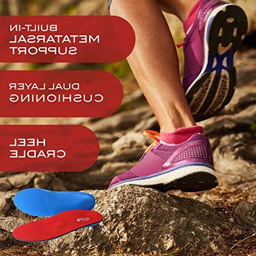 Powerstep Plus Insoles Red/Blue, 4-4.5 Women's