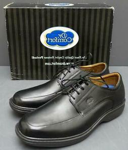 Men Dr. Comfort Classic Black Leather Lace Up Oxford Comfort
