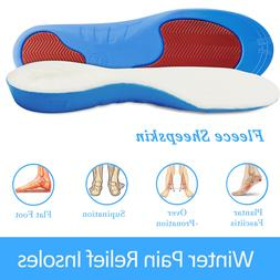 Winter Fleece Sheepskin Arch Support Shoe Boots Insoles Warm