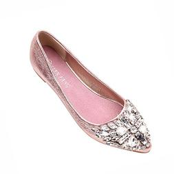 Women's Ballet Flats Pointed Toe Rhinestone Low Heel Sparkly
